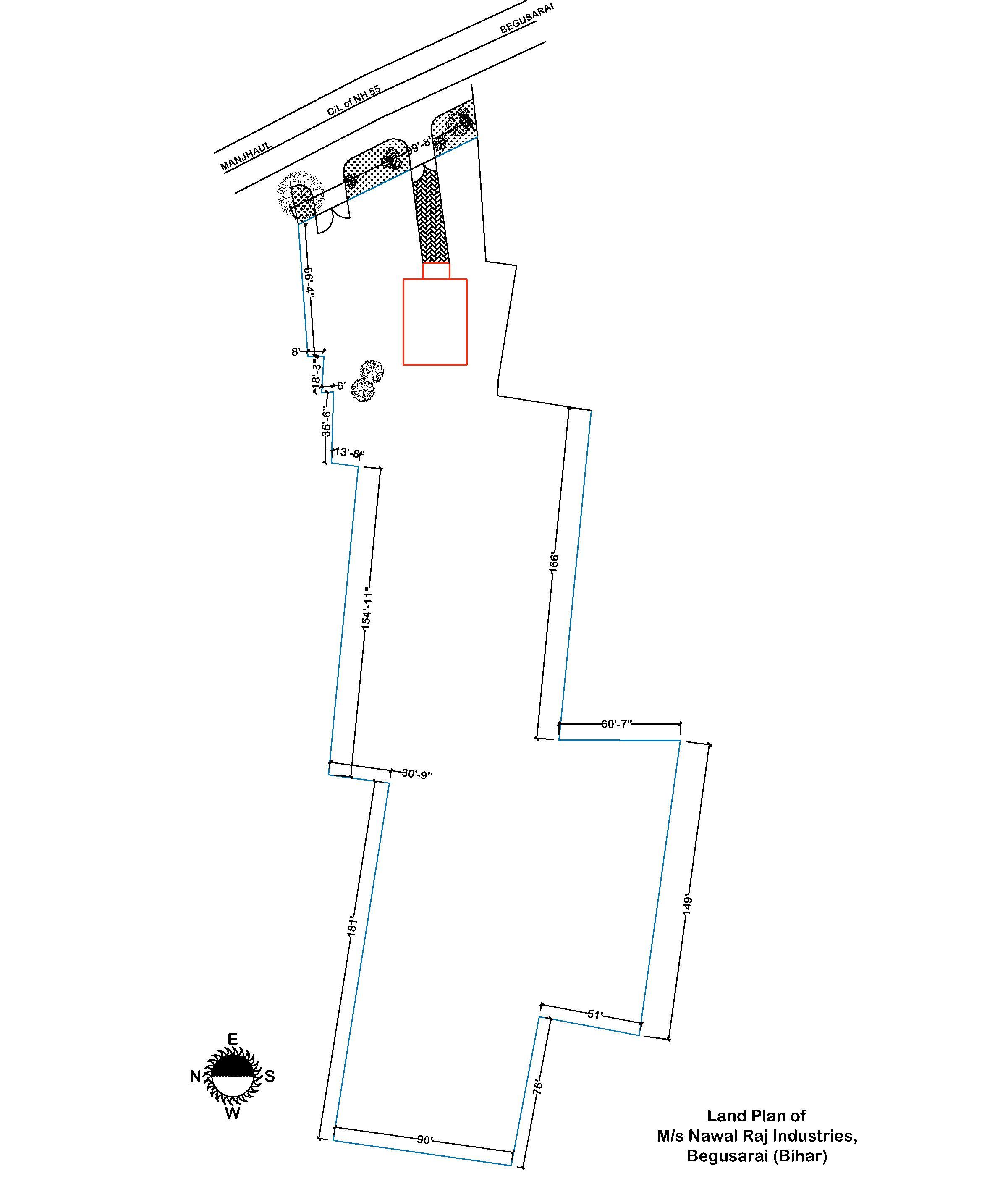 58000 Sq-ft Plot on Rent - SH - 55 -Begusarai - Manjhaul - Rosera-